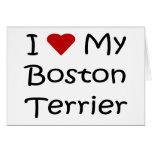 Amo mis regalos del amante del perro de Boston Ter Tarjetón