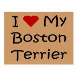 Amo mis regalos del amante del perro de Boston Ter Postal