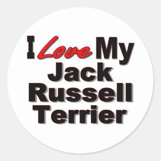 Amo mis regalos del perro de Jack Russell Terrier Pegatina Redonda