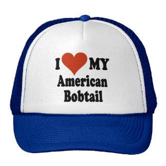 Amo mis regalos y ropa Bobtail americanos del gato Gorros Bordados