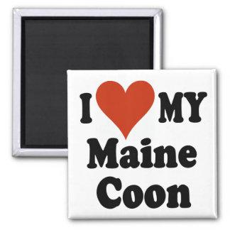 Amo mis regalos y ropa del gato de Coon de Maine Imán Cuadrado