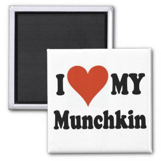 Amo mis regalos y ropa del gato de Munchkin Imán Cuadrado