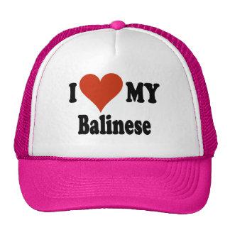Amo mis regalos y ropa del gato del Balinese Gorras