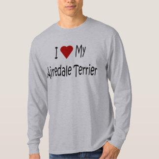 Amo mis regalos y ropa del perro de Airedale Remera