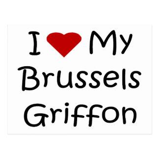 Amo mis regalos y ropa del perro de Bruselas Griff Tarjeta Postal