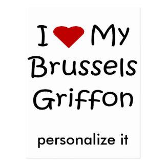 Amo mis regalos y ropa del perro de Bruselas Griff Postales