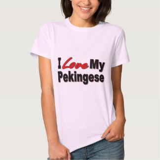 Amo mis regalos y ropa del perro de Pekingese Remeras