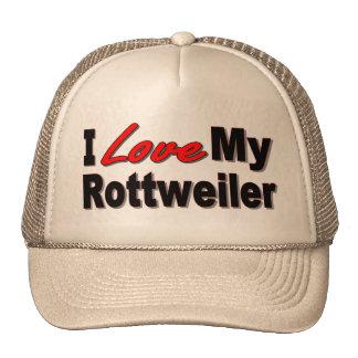Amo mis regalos y ropa del perro de Rottweiler Gorras De Camionero