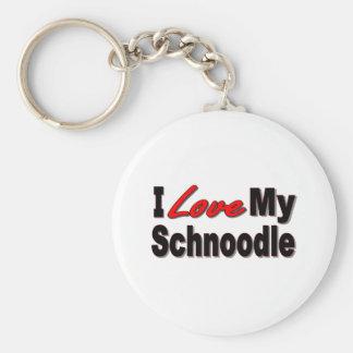 Amo mis regalos y ropa del perro de Schnoodle Llaveros