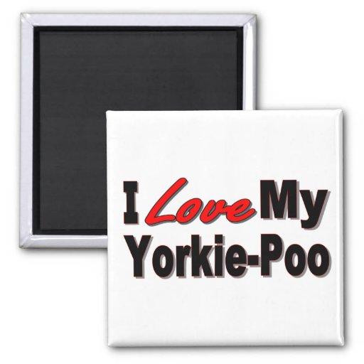 Amo mis regalos y ropa del perro de Yorkie-Poo Imán