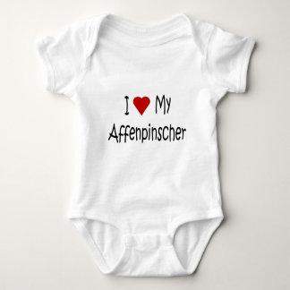 Amo mis regalos y ropa del perro del Affenpinscher Body Para Bebé