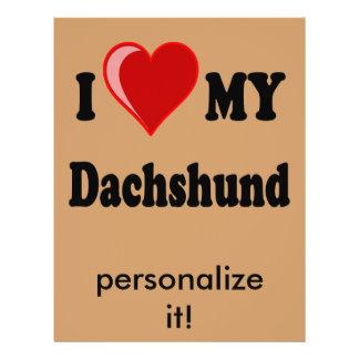 """Amo mis regalos y ropa del perro del Dachshund Folleto 8.5"""" X 11"""""""