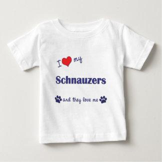 Amo mis Schnauzers (los perros múltiples) Playera De Bebé