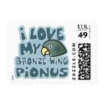 Amo mis sellos cons alas bronce de Pionus
