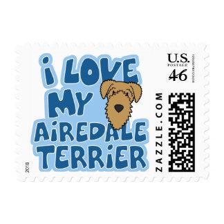 Amo mis sellos de Airedale Terrier