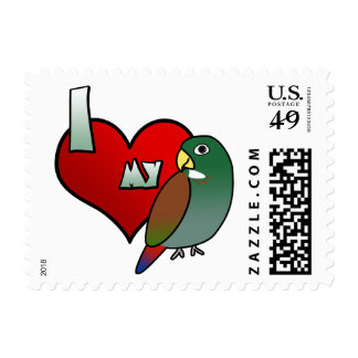 Amo mis sellos de bronce de Pionus del ala