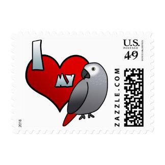 Amo mis sellos del gris africano de Congo