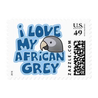 Amo mis sellos del gris africano de Timneh