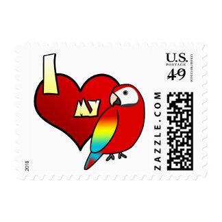 Amo mis sellos del Macaw del escarlata