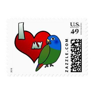 Amo mis sellos dirigidos azul de Pionus