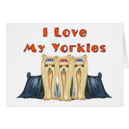 Amo mis tarjetas del diseño del arte de Yorkies