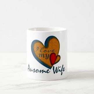 Amo mis tazas del corazón del vintage de la esposa
