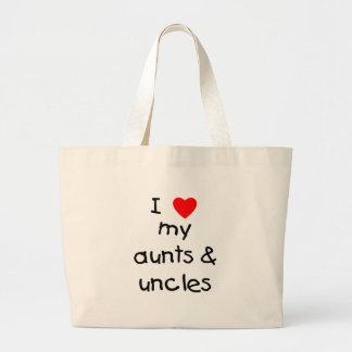 Amo mis tías y tíos bolsas de mano