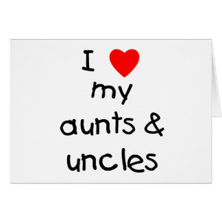 Amo mis tías y tíos tarjetas