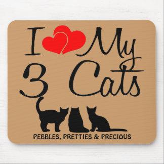Amo mis tres gatos tapetes de ratón