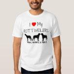 Amo mis tres Rottweilers Playera