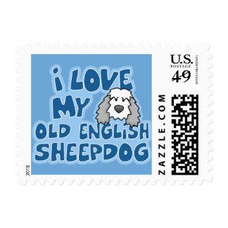 Amo mis viejos sellos ingleses del perro pastor