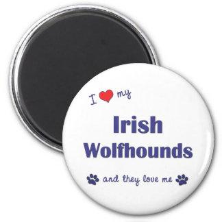 Amo mis Wolfhounds irlandeses (los perros múltiple Imán Redondo 5 Cm