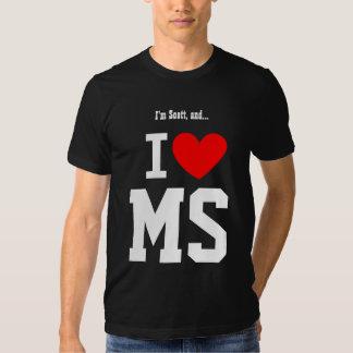 Amo Mississippi o cualquier corazón del rojo del Playeras