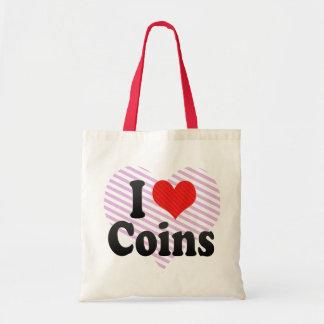 Amo monedas bolsa lienzo