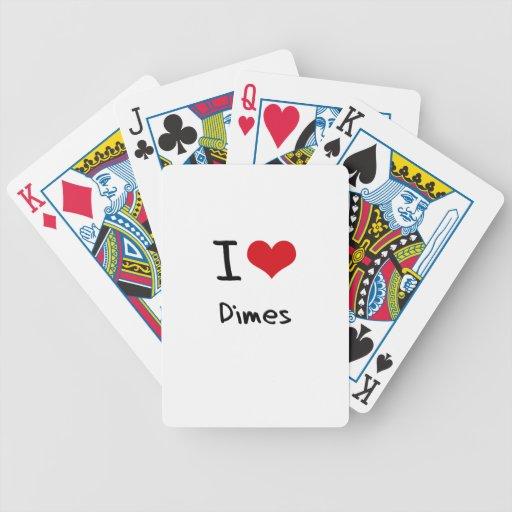 Amo monedas de diez centavos cartas de juego