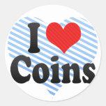 Amo monedas etiqueta redonda