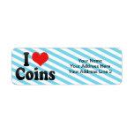 Amo monedas etiquetas de remite