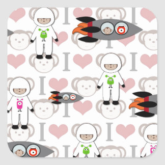 Amo monos en espacio pegatina cuadrada
