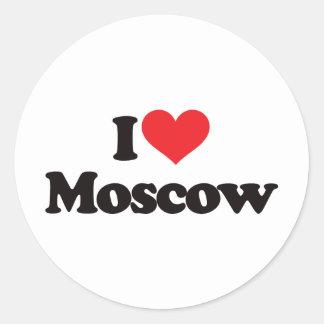 Amo Moscú Pegatina Redonda