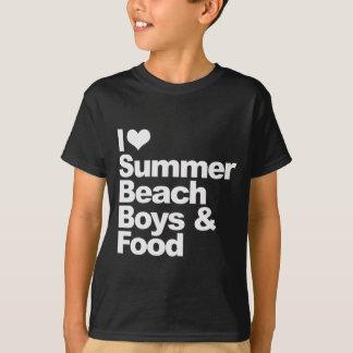 Amo muchachos y la comida de la playa del verano playera