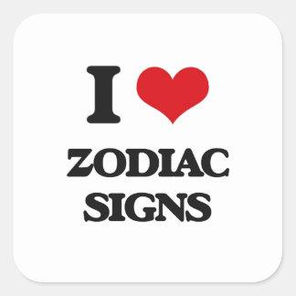 Amo muestras del zodiaco pegatina cuadrada