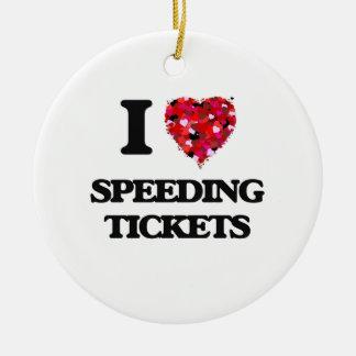 Amo multas por exceso de velocidad adorno navideño redondo de cerámica
