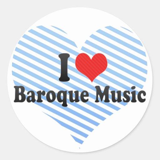 Amo música barroca pegatina redonda