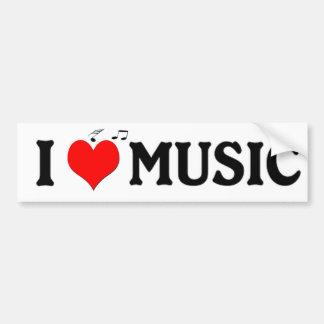 Amo música pegatina de parachoque