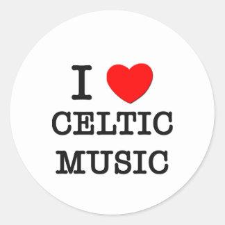 Amo música céltica pegatina redonda