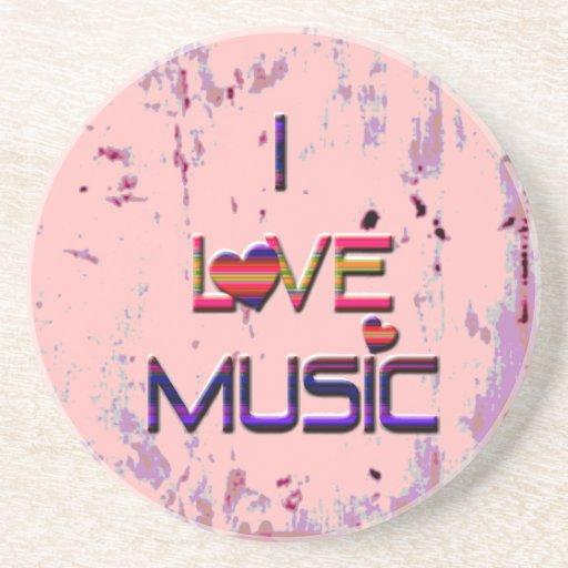 Amo música con los corazones posavasos diseño