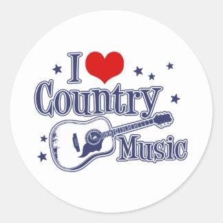 Amo música country pegatina redonda