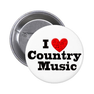 Amo música country pin redondo de 2 pulgadas