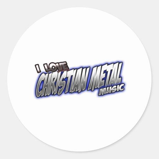 Amo música CRISTIANA del METAL Pegatina Redonda