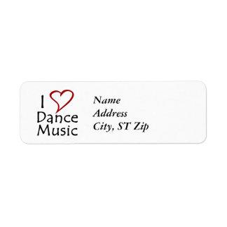 Amo música de danza etiqueta de remitente